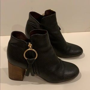 See by Chloe black tumbled leather booties